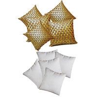 Zikrak Exim Golden Leather Bricks Cushion With Fillers (10 Pcs Set)