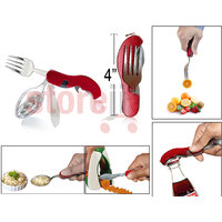 4-in-1 Pocket Cutlery Set Of Spoon, Fork, Knife & Opener For Office / Travel Purpose