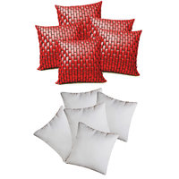 Zikrak Exim Red Leather Bricks Cushion With Fillers (10 Pcs Set)