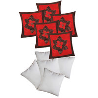 Big Lily Flower Patch Cushion With Fillers Brown & Red (10 Pcs Set)