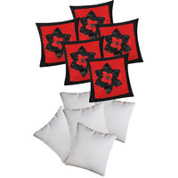 Big Lily Flower Patch Cushion With Fillers Red & Black (10 Pcs Set)