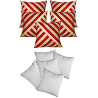 Zikrak Exim Oblique Design Cushion With Fillers Red & Beige (10 Pcs Set)