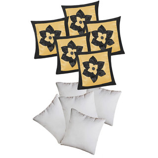 Big Lily Flower Patch Cushion With Fillers Black & Beige (10 Pcs Set)