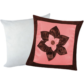 Big Lily Flower Patch Cushion With Filler Brown & Pink (2 Pcs Set)