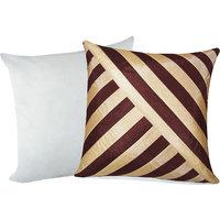 Zikrak Exim Oblique Design Cushion With Filler Brown & Beige (2 Pcs Set)