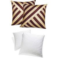 Zikrak Exim Oblique Design Cushion With Fillers Brown & Beige (4 Pcs Set)