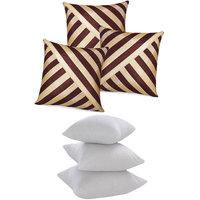 Zikrak Exim Oblique Design Cushion With Fillers Brown & Beige (6 Pcs Set)