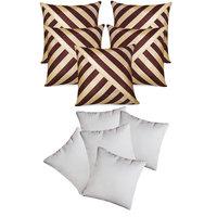 Oblique Design Cushion With Fillers Brown & Beige (10 Pcs Set)