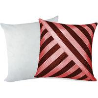 Zikrak Exim Oblique Design Cushion With Filler Brown & Pink(2 Pcs Set)