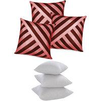 Zikrak Exim Oblique Design Cushion With Fillers Brown & Pink (6 Pcs Set)