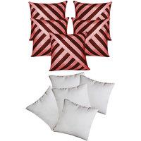Zikrak Exim Oblique Design Cushion With Fillers Brown & Pink (10 Pcs Set)