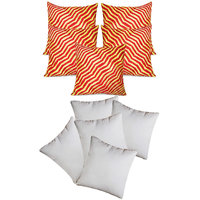 Zig Zag Pintucks Cushion With Fillers Red & Yellow (10 Pcs Set)