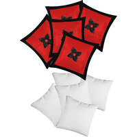 Zikrak Exim Button Flower Cushion With Fillers Red & Black (10 Pcs Set)
