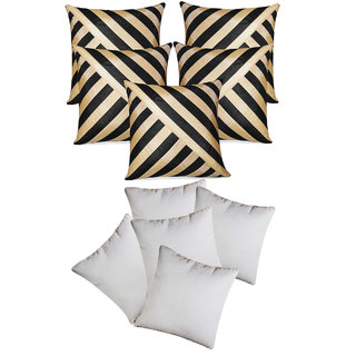 Oblique Design Cushion With Fillers Black & Beige (10 Pcs Set)