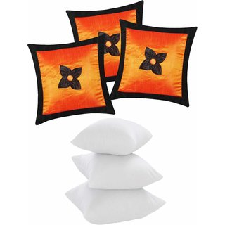 Zikrak Exim Button Flower Cushion With Fillers Orange & Black (6 Pcs Set)