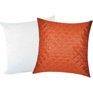 Zikrak Exim Square Quilting Cushion With Fillers Rust (2 Pcs Set)