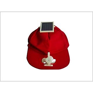 SOLAR POWERED CAP WITH FAN IN RED COLOUR
