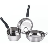 STEEL INDUCTION SAFE COOKWARE SET OF 3 [FRY PAN , SAUCE PAN AND KADHAI]