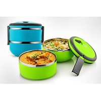 Elegant Two Layer Classic Lunch Box - Assorted Colour