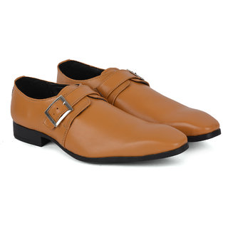 Ziraffe VAPOR Genuine Leather Camel Mens Monk Strap Formal Shoes