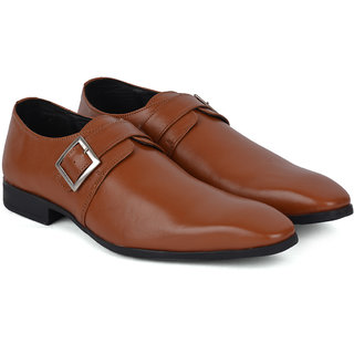 Ziraffe VAPOR Genuine Leather Tan Mens Monk Strap Formal Shoes