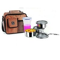 Stenso Lunchbox And 3 Steel Containers Air Tight Bottle Carry Bag Close