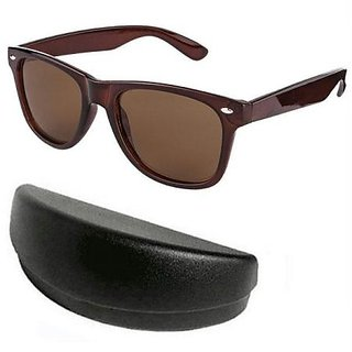 Classic Brown Wayfarer Style Sunglasses With Hard Case For Men