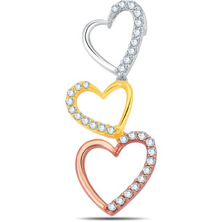 Jashn The Tri Color Heart Pendant  In Sterling Silver & Swarovski # JNPSC092 [CLONE]