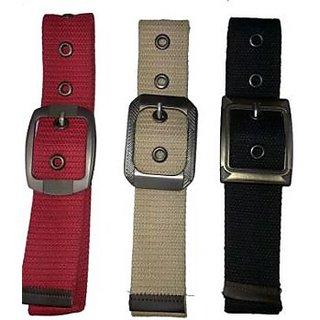 Set Of 3 - Stylish Cotton Canvas Belt For Men - Red - Black & Beige