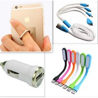 TrendGear- Combo of Car Mobile Charger +4In1 Usb Multi Pin Cable +360 degree Universal Ring mobile Holder+USB Led Light