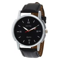 Oura Round Dial Black Leather Strap Mens Quartz Watch