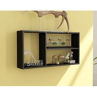 Home Sparkle Wooden Rectanglur Wall Shelf