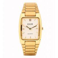 Zion Rectangle Dial Golden Metal Strap Mens Watch