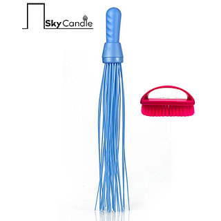 Skycandle Combo of Plastic Broom With Cloth Cleaning Brush Assorted