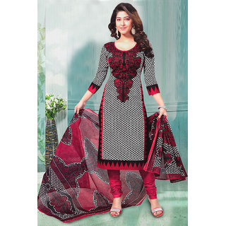 Sarees Trendz Fashion Black Printed Crepe Semi Stitched Salwar Suit