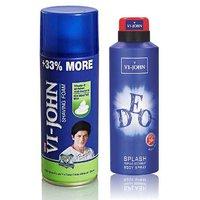 VI-JOHN Shave Foam 400GM For Sensitive Skin & VIJOHN Deo Splash