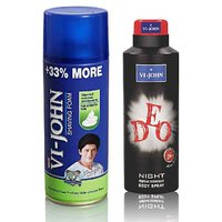 VI-JOHN Shave Foam 400GM For Sensitive Skin & VIJOHN Deo Night