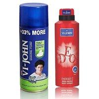 VI-JOHN Shave Foam 400GM For Sensitive Skin & VIJOHN Deo Energetic