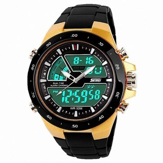 Skmei Round Analog Multi-function Gold Stainless Steel Watch for Men
