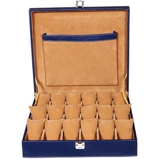 Leather World Blue Watch Cases Boxes for 18 Watches (Guaranteed High Quality PU Leather)