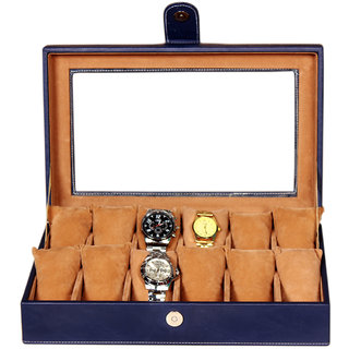 Leather World Blue Watch Box Case for 12 Watches Transparent Lid (Guaranteed High Quality PU Leather)
