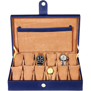 Leather World Blue Watch Box Case for 12 Watches (Guaranteed High Quality PU Leather)