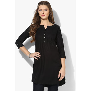 Aahwan Womens Black Short Kurtis
