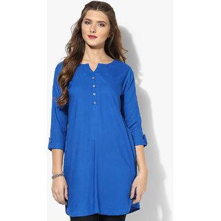 Aahwan Womens Dark Blue Short Kurtis