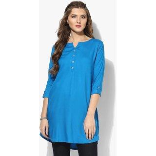 Aahwan Womens Light Blue Short Kurtis