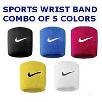 Sports Basketball Gym Yoga Unisex Cotton Sweatband Wrist band  Combo 5 in 1  (Black/White/Red/Yellow/Blue)CODEsG-7864