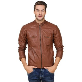 923b0958b2c Solid Brown Leather Jacket for Men available at ShopClues for Rs.1999
