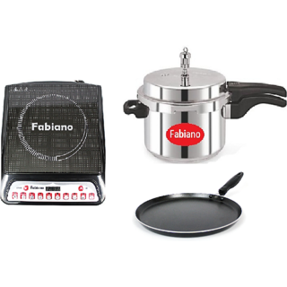 Fabiano Fabulous Induction Cookware set - Induction cooktop, Induction base 5L pressure cooker with Free Induction Tawa