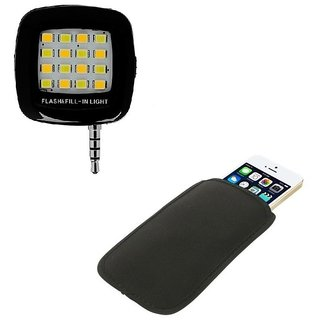 De-TechInn Combo OF 16 LED Night Flash Light + Pouch for i Mobile Phones Neoprene Cloth Sleeve