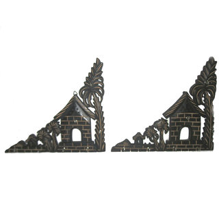 Beautifully Carved Triangle Key Hanger Set of 2.